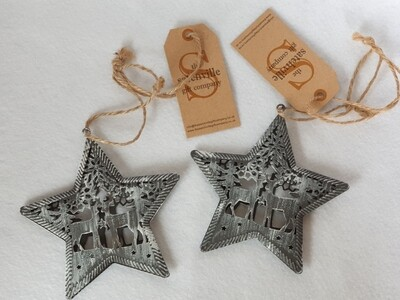 Metal Christmas Stars. Hanging decorations. Set of 2