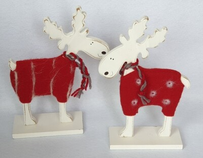 Wooden Reindeer in Christmas jumpers - set of 2