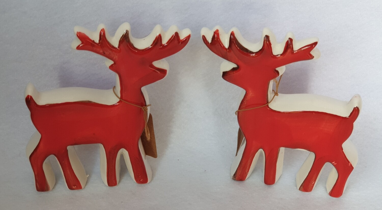 Ceramic Reindeer Christmas decorations - Set of 2