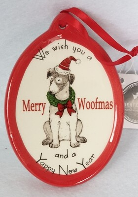 'Merry Woofmas' ceramic Christmas hanging decoration