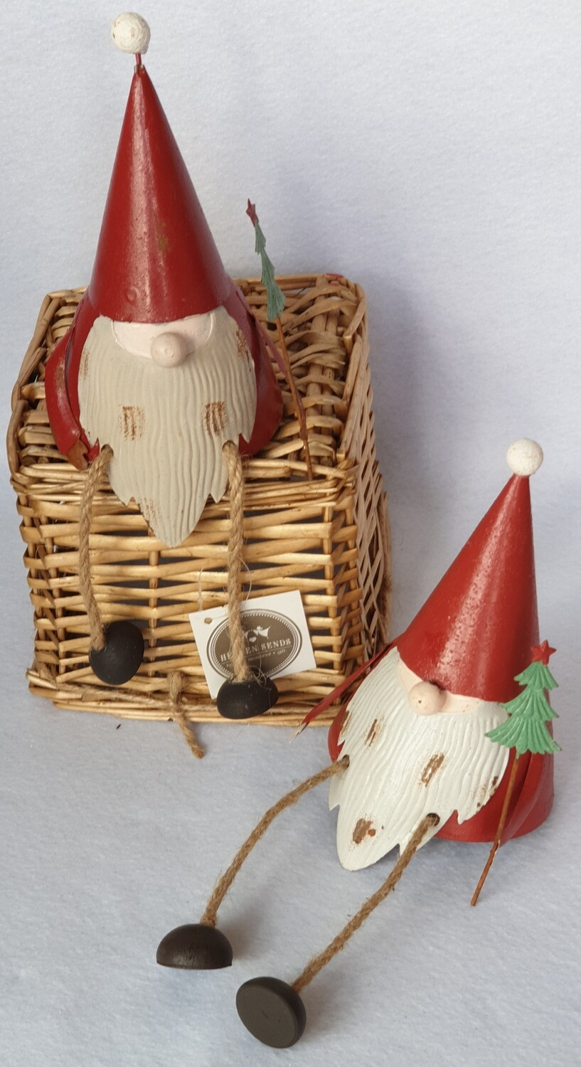 Rustic metal sitting Santa Christmas decorations - Set of 2