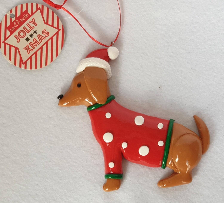 Christmas Jumper Dachshund hanging decoration - Sass & Belle