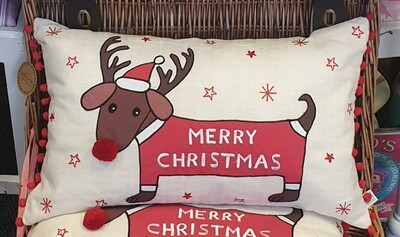 Merry Christmas Dachshund Cushion Cover *Cover only* Sass & Belle