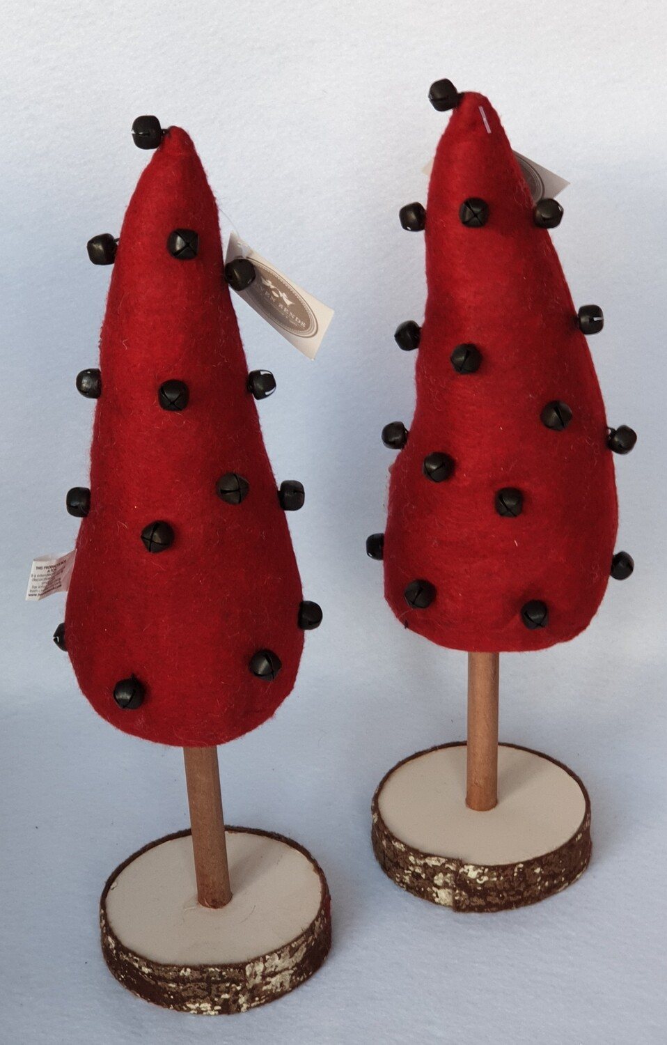 Quirky Plush Christmas Trees with bells. Set of 2
