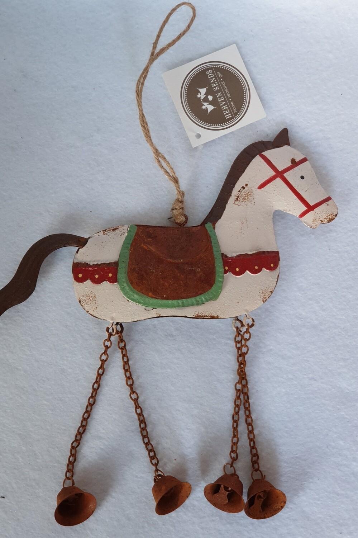 Rustic metal hanging horse decoration. Christmas.