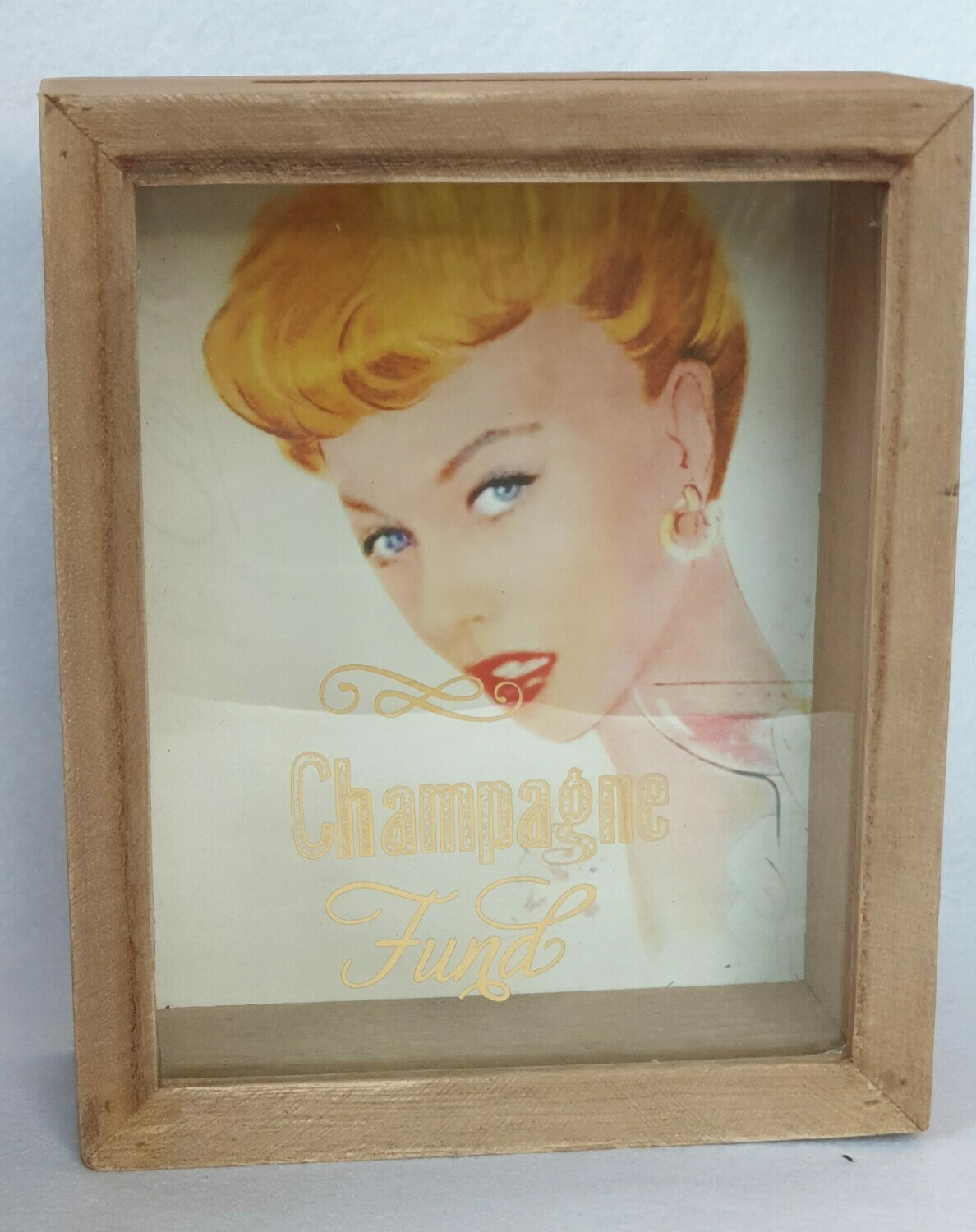 'Champagne Fund' money box. Retro
