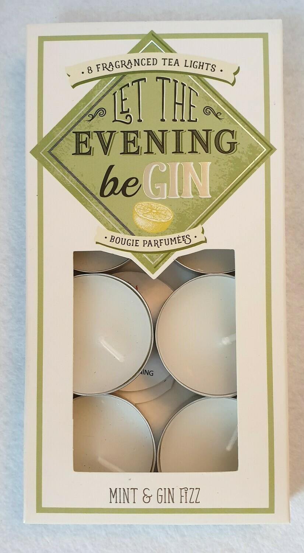 'Let the evening beGIN' set of 8 fragranced tea lights.