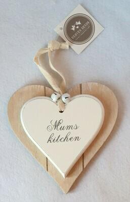 'Mum's Kitchen' wooden heart sign