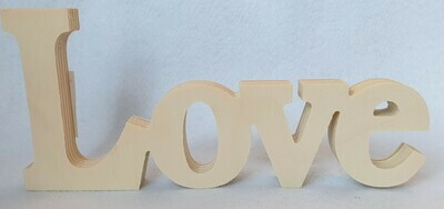 Wooden 'Love' sign. Untreated wood