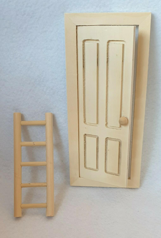 Wooden Fairy/Elf door and ladder. Untreated wood