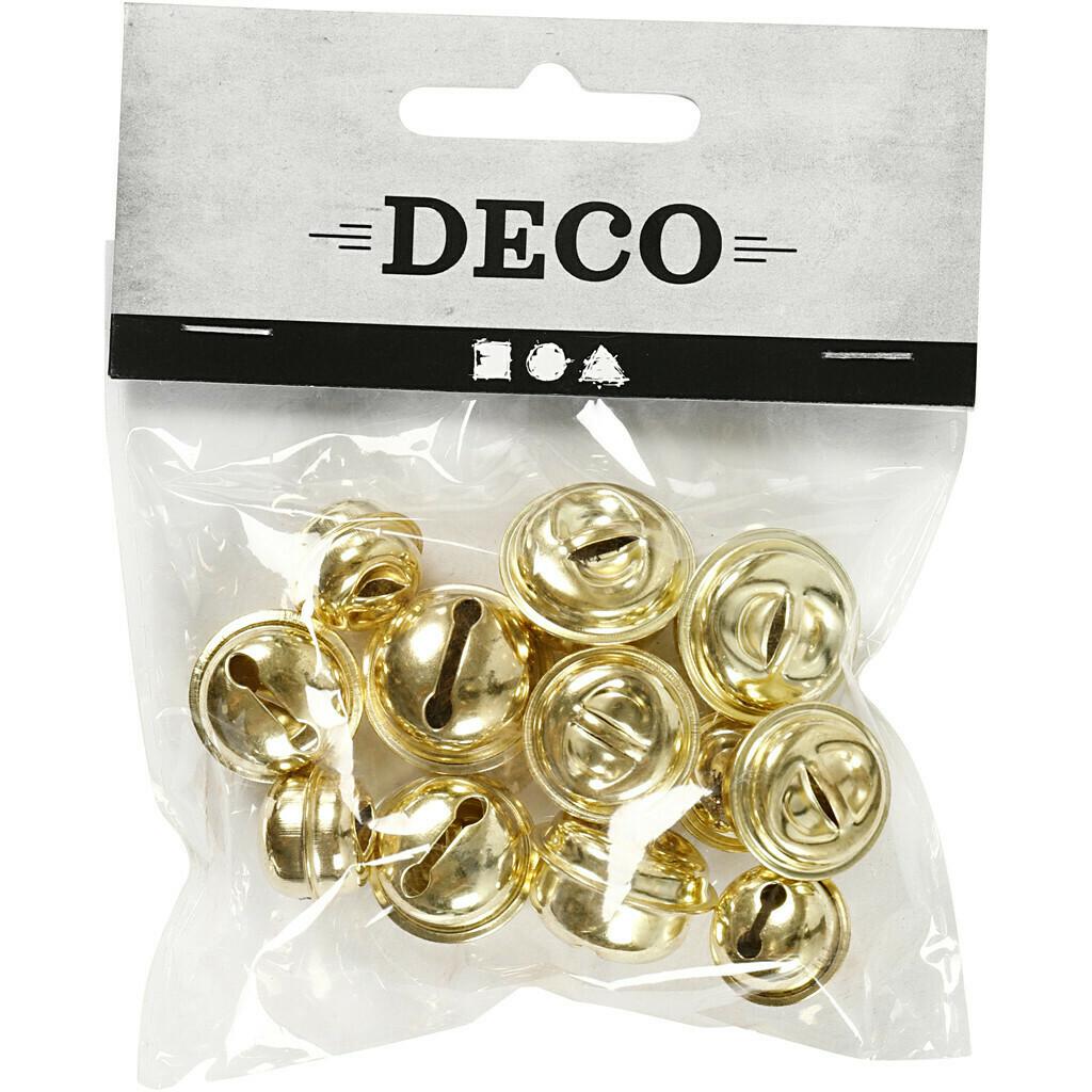Bells, 13+15+17 mm, Gold, 12 Asstd.