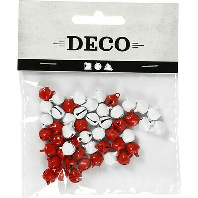 Bells, 8 mm, Red/white, 50 pc
