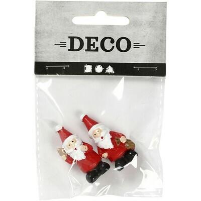 Miniature Santa Figures. 35mm x 17mm. Pack of 2