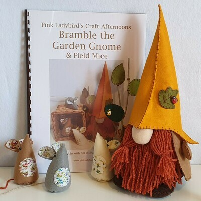 Sewing Pattern Booklet. Bramble the garden gnome & field Mice
