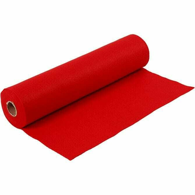 Felt - Red (FULL 5 METRE ROLL) W:45cm, thickness 1,5 mm, 180-200 g/m2