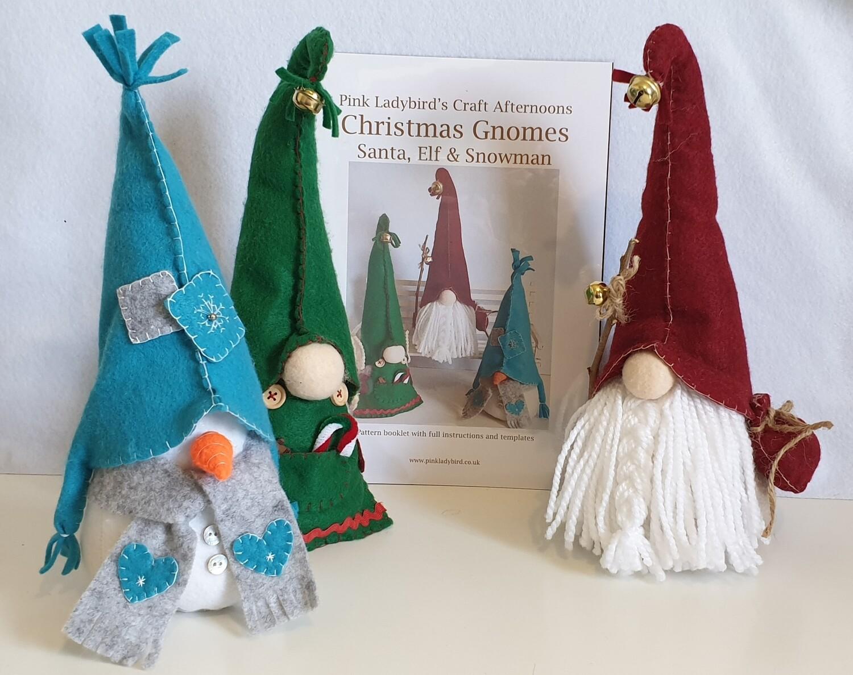 Sewing Pattern Booklet. Christmas Gnomes. Santa, Elf & Snowman.