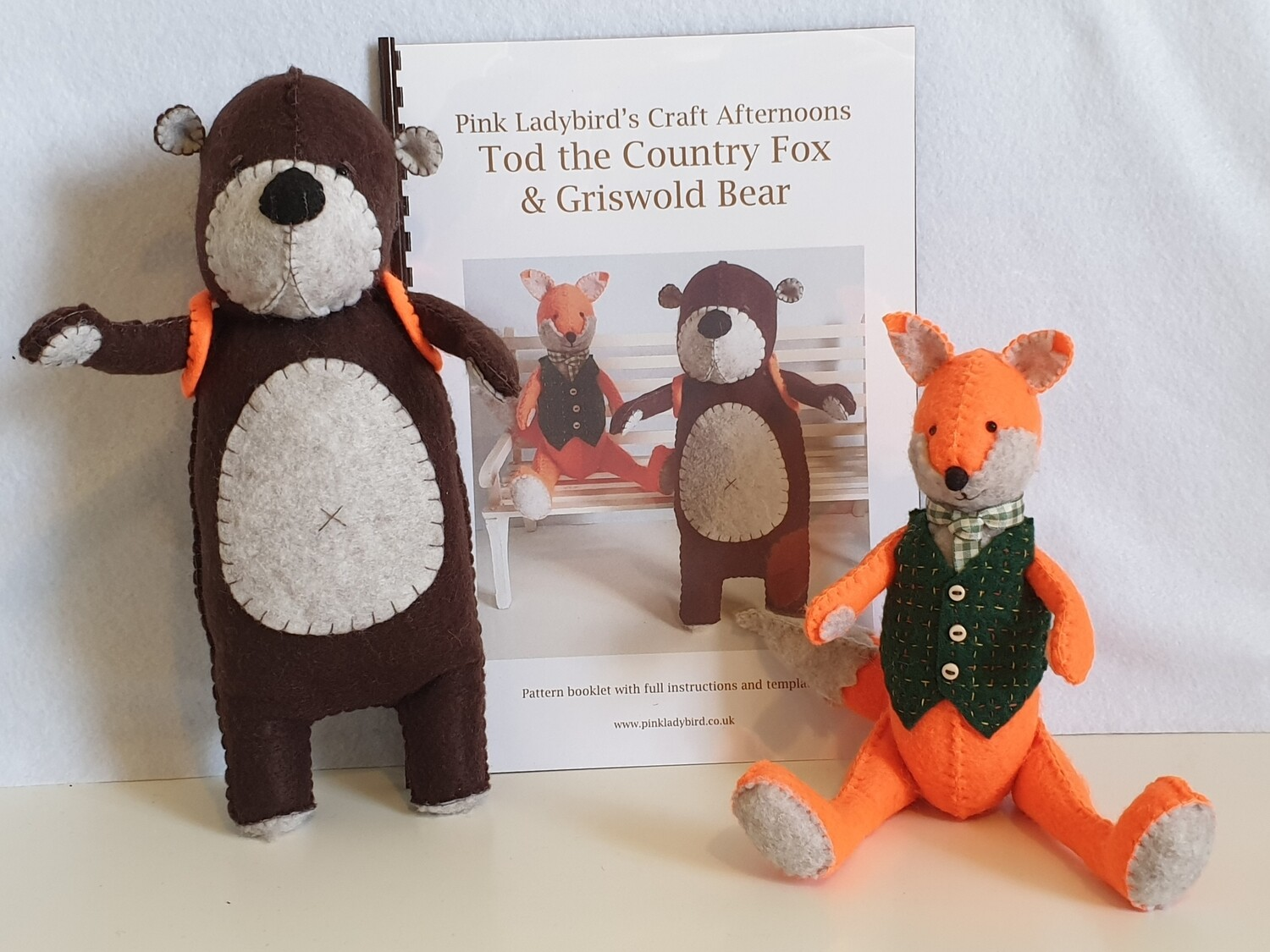 Sewing Pattern Booklet. Tod the Country Fox and Griswold Bear