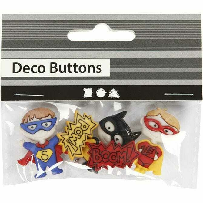 Novelty shaped buttons - 'Superhero'