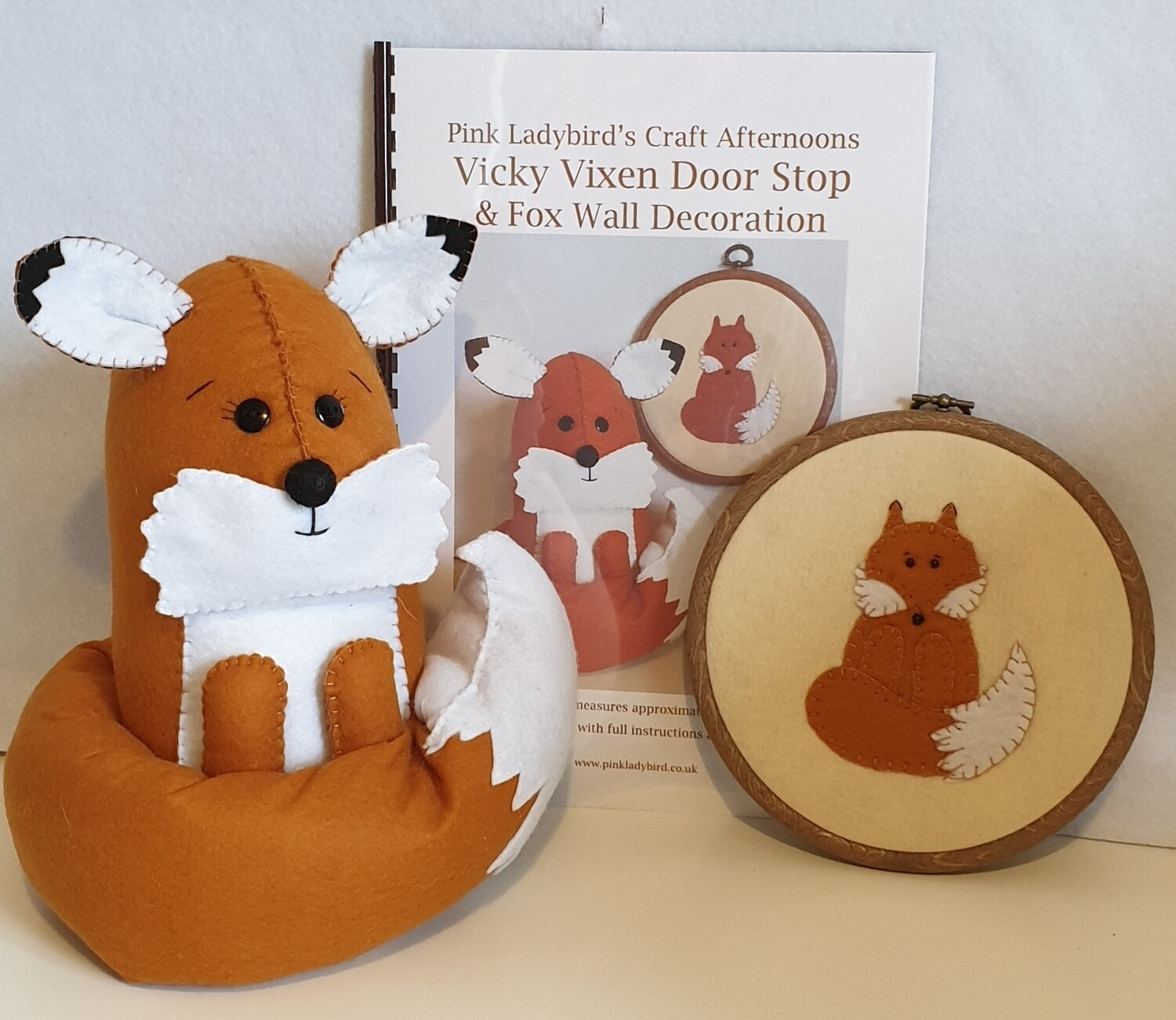 Sewing Pattern Booklet. Vicky Vixen door stop & fox wall decoration.