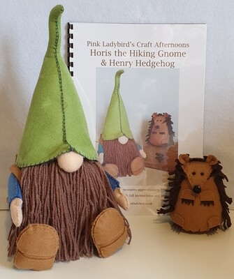Sewing Pattern Booklet. Horis the hiking gnome & Henry Hedgehog