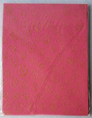 Craft felt. 10 sheet pack with glitter effect. Pink.