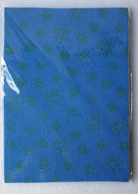 Craft felt. 10 sheet pack with glitter effect. Blue.