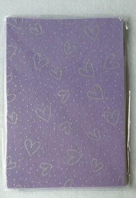 Craft felt. 10 sheet pack with glitter effect. Purple.
