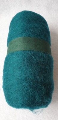 100g ball of carded needle felting wool. Dark Jade Green