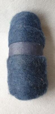 100g ball of carded needle felting wool. Denim Blue
