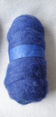 100g ball of carded needle felting wool. Blue