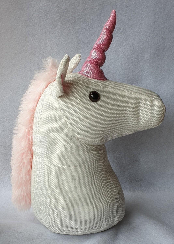 Unicorn Head door stop - White & Pink
