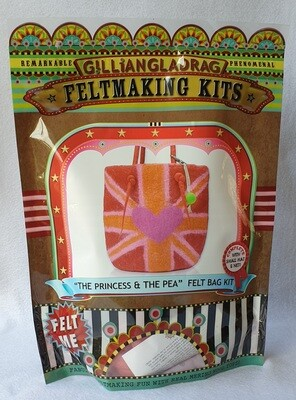 Wet felting kit - Princess and the pea handbag and key-ring.