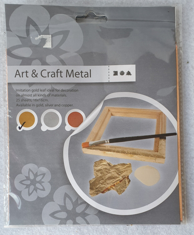Gold leaf sheets. 25 sheets 16 cm x 16 cm