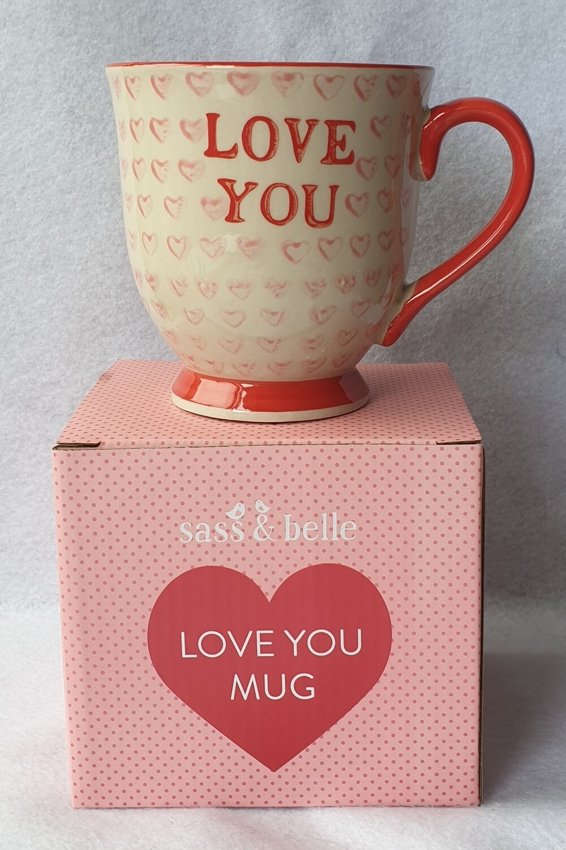 Sass & Belle. large 'LOVE YOU' mug.