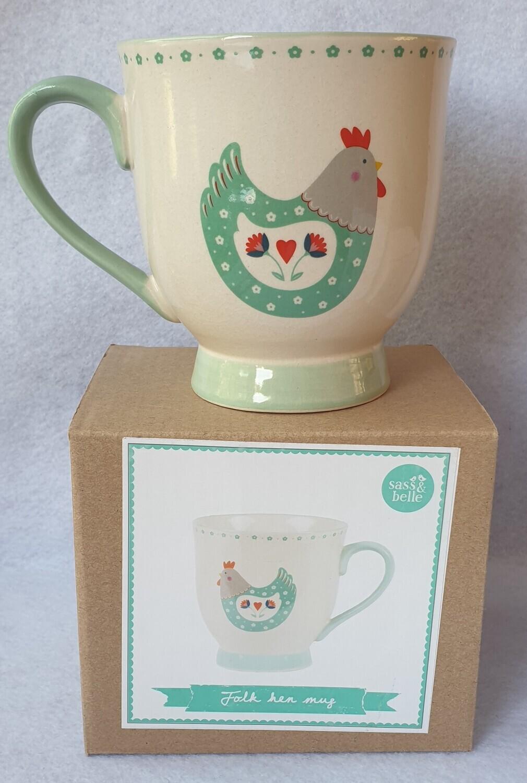 Large 'Folk Hen' Mug. Sass & Belle