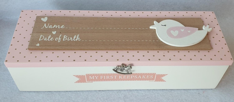 Wooden 'My First Keepsakes' Box. Pink with bird detail.