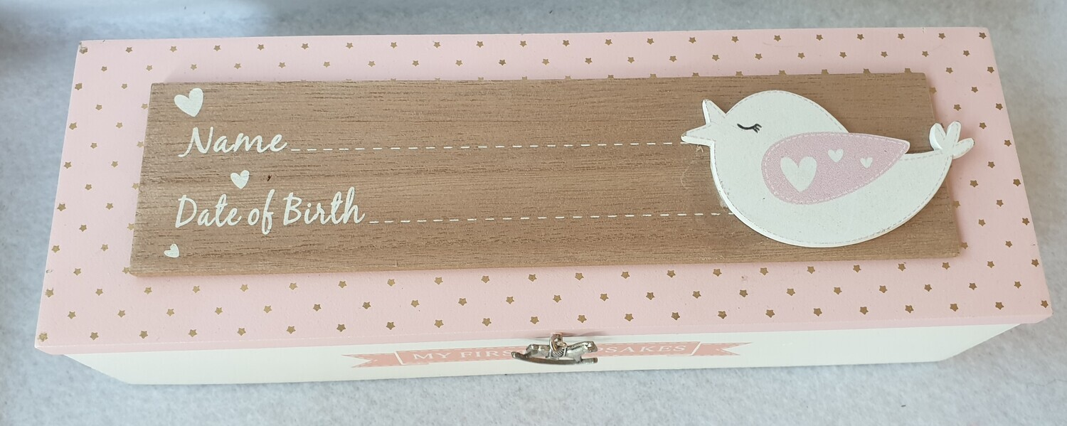 Wooden 'My First Keepsakes' Box. Pink with bird detail. (*slight imperfection)