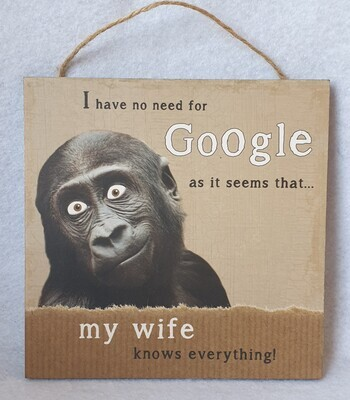 Funny wall plaque. I have no need for google my wife knows everything.