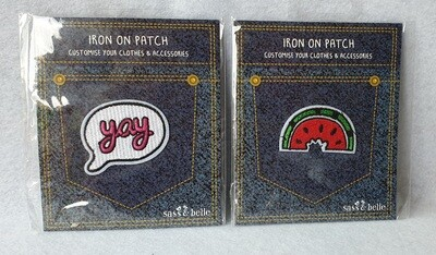 Sass & Belle Iron on patch. Pack of 2.