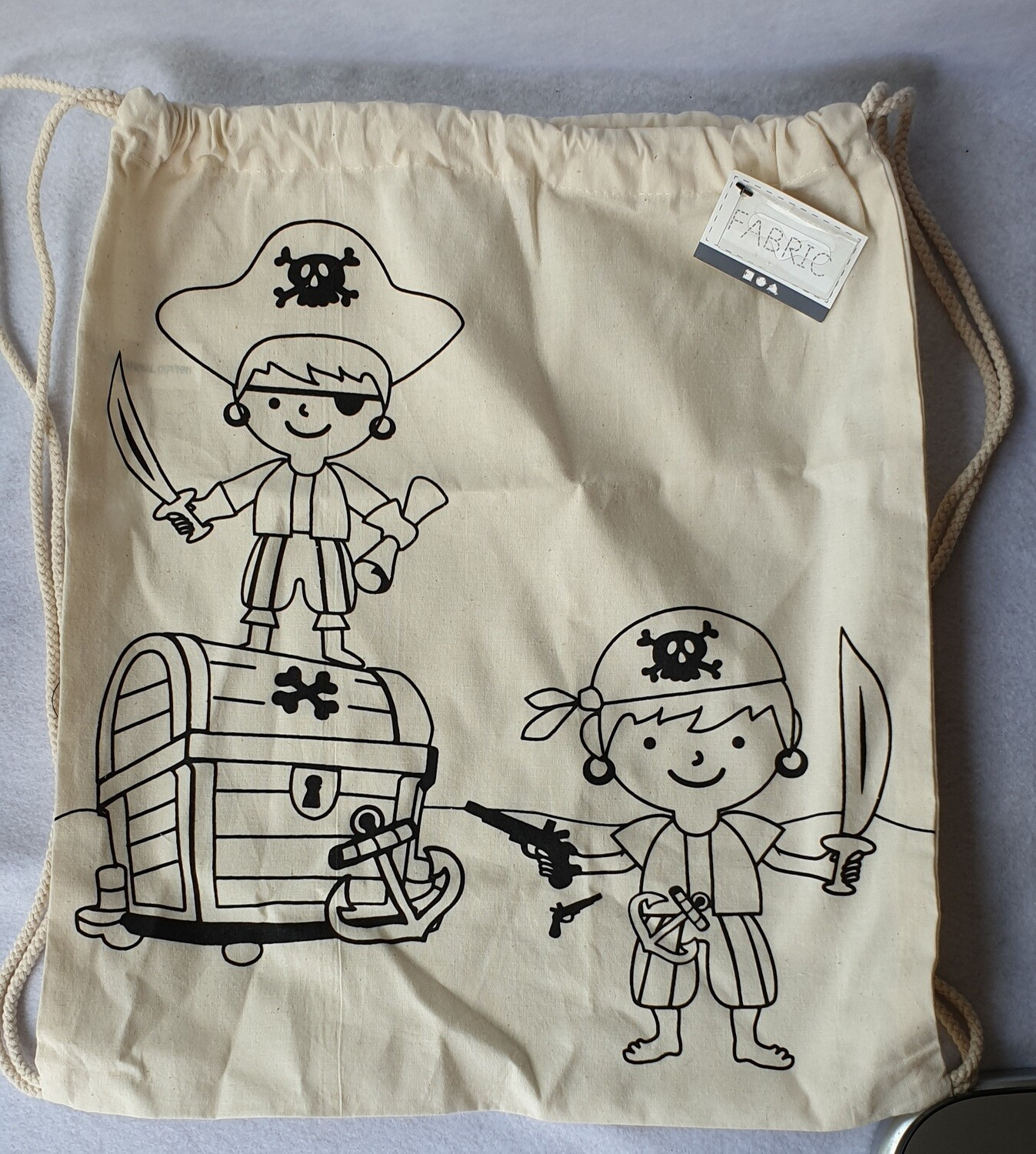Light natural 100% cotton draw string bag to decorate. Pirate.