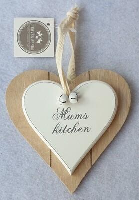 'Mum's Kitchen' wooden heart wall plaque.