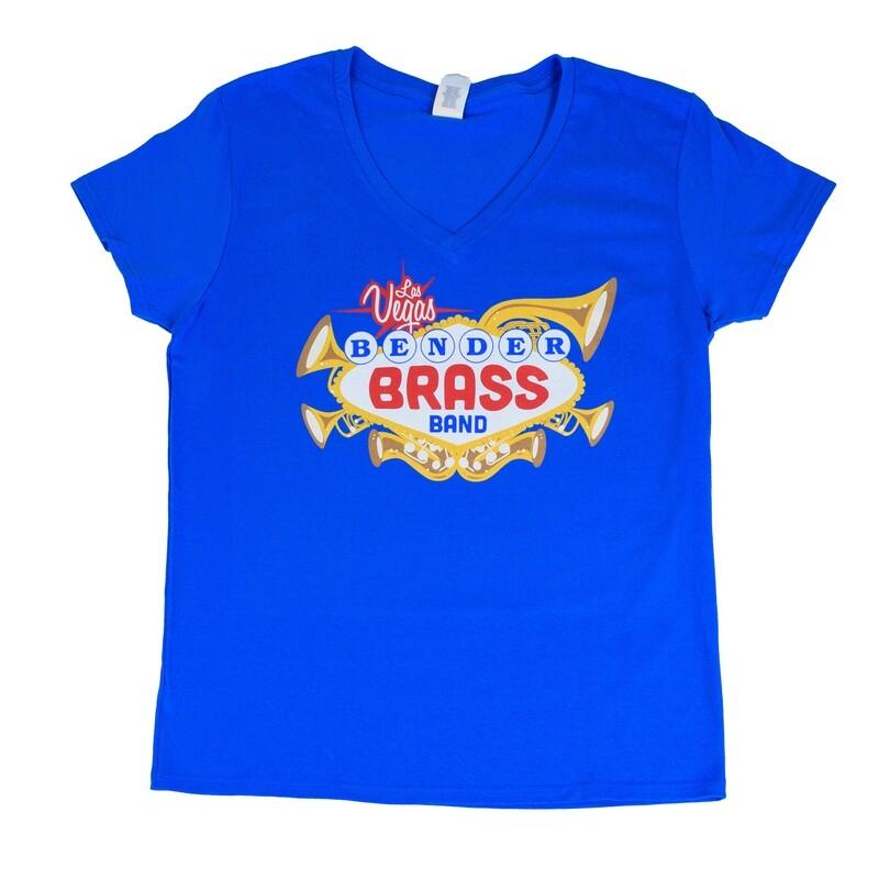 2019 Bender Brass Ladies Cut V-Neck, Royal Blue