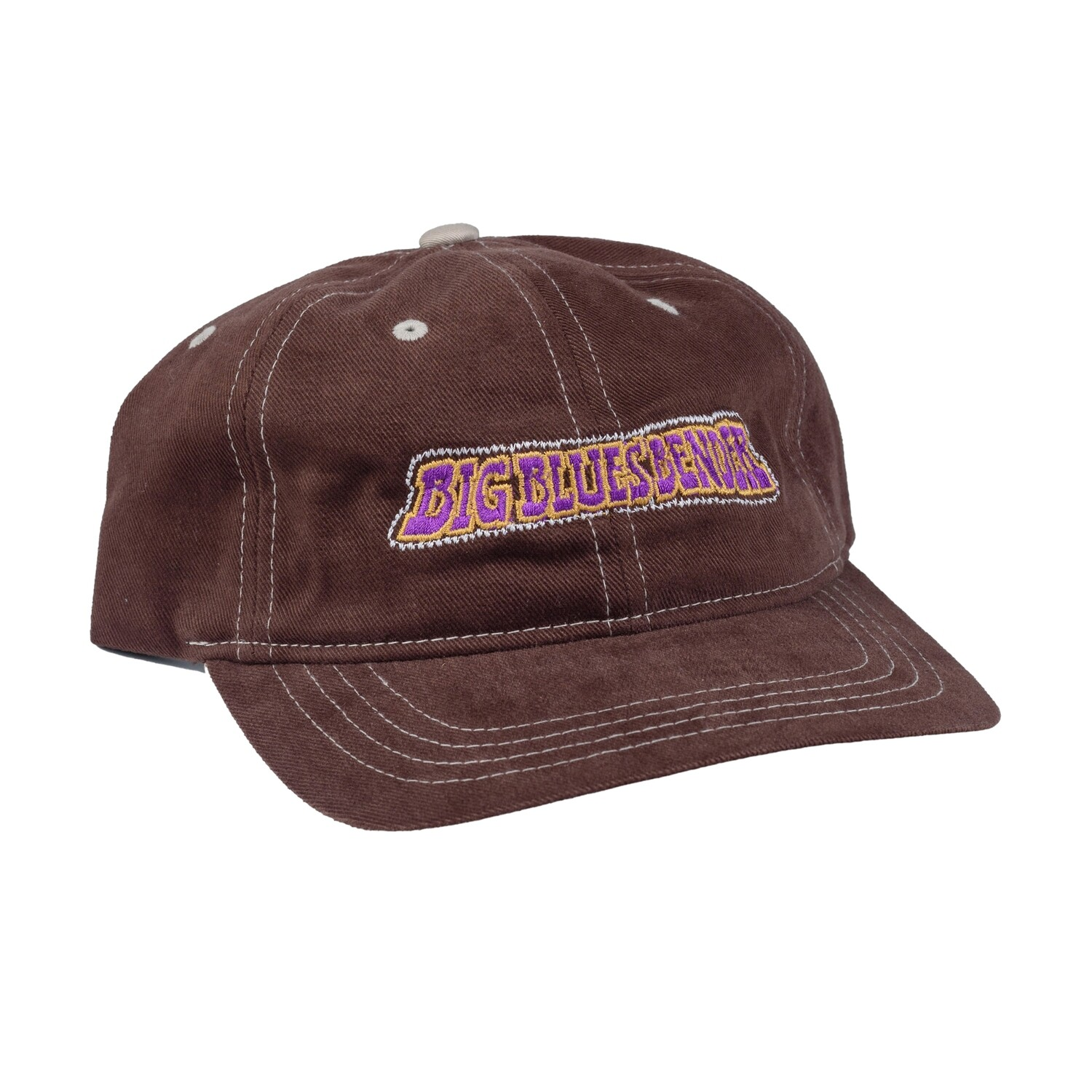 Lizard Letter Cap, Brown w/ White stitching