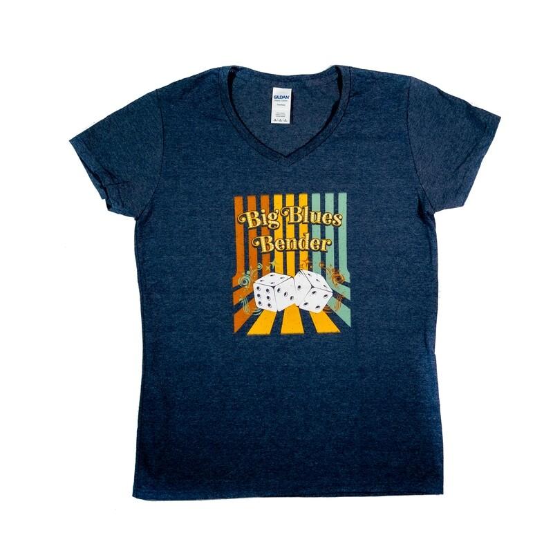 Dice V-Neck Ladies T-shirt, Blue