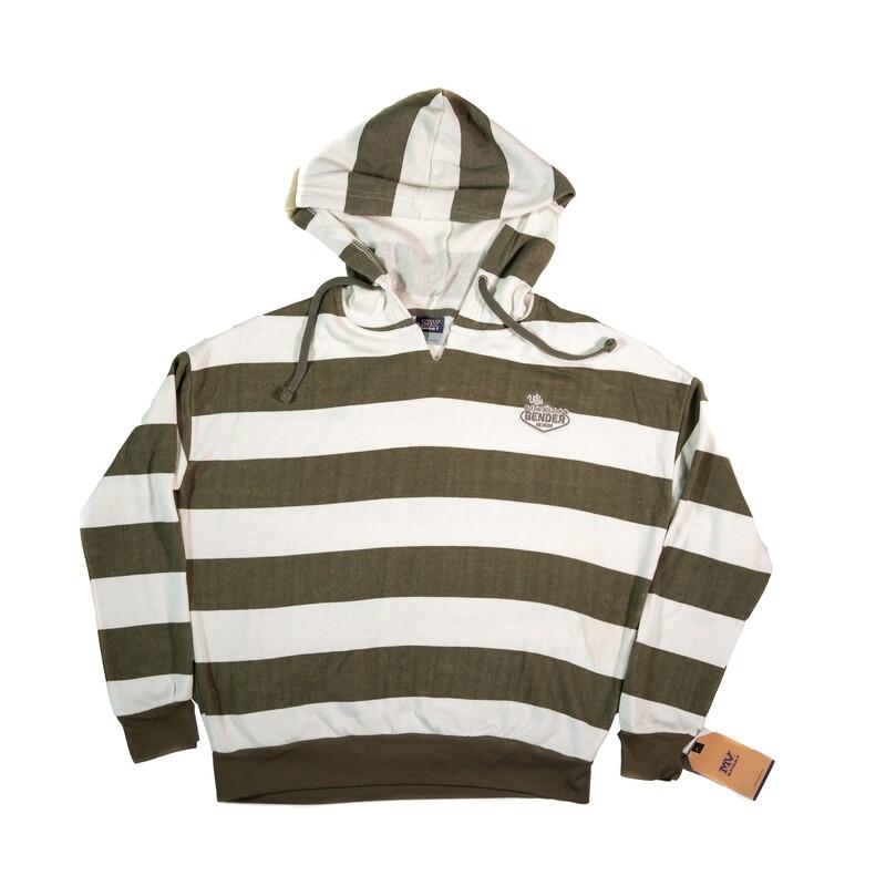 Logo Brown & White Striped Hoodie