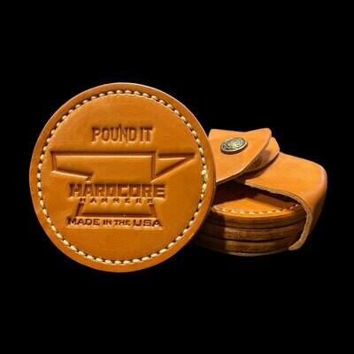Pound It Leather Coaster Set