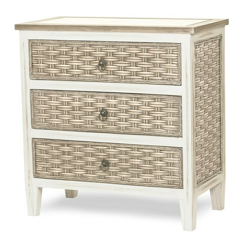 Rattan 3 DRAWER CHEST  Sea Breeze