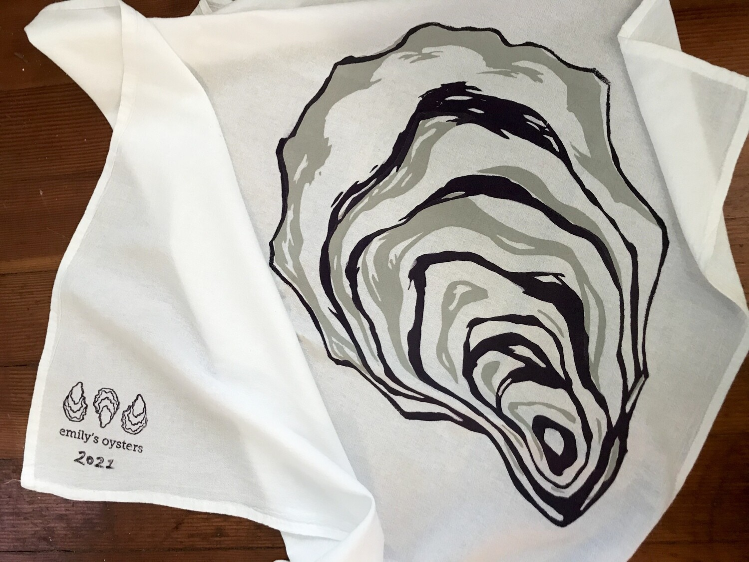 Big Oyster Screen Printed Tea Towel