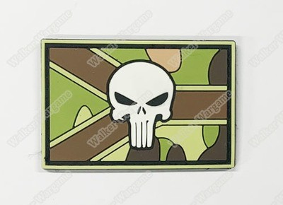 PWG002 PVC Navy SEAL Punisher RSA Flag Patch With Velcro - Multicam Color