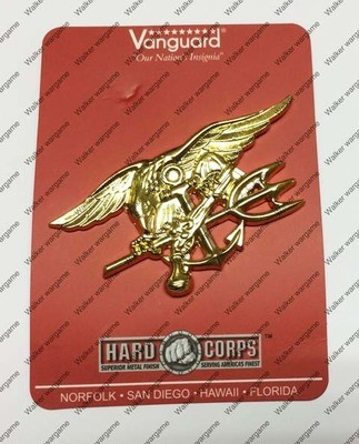 US Special Force Navy SEAL Regulation SEAL Trident Gold Colourd Badge Insignia - Metal